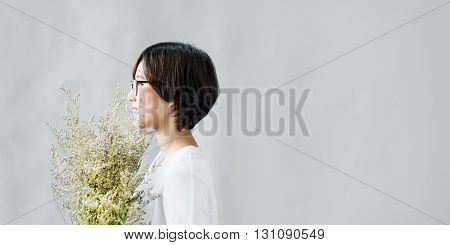 Gift Girl Happiness Leisure Calm Flower Relax Concept