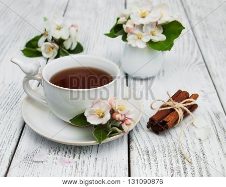 Cup Of Tea With Apple Blossoms