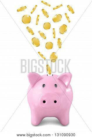 Pink piggy bank with coins falling into slot isolated on white