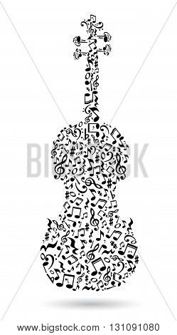 Isolated violin made of notes on white background. Black notes pattern. Black and white design. Note shape. Poster and decoration idea.