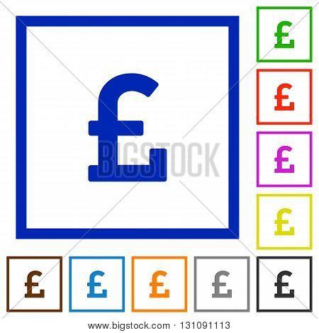 Set of color square framed pound sign flat icons