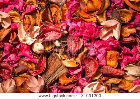 Dried flowers for the background scattered on the table