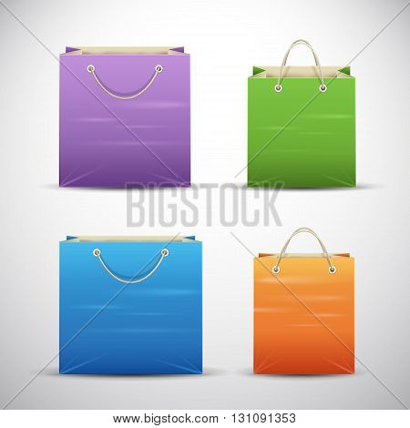 Set of color shopping bags. Vector illustration.