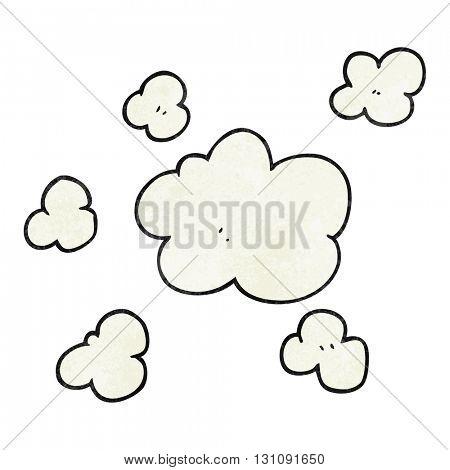 freehand textured cartoon steam clouds