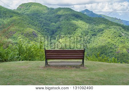 Bench on the viewing platform. Shooting in the Seychelles in Mahe (capital).
