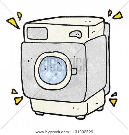 freehand textured cartoon rumbling washing machine