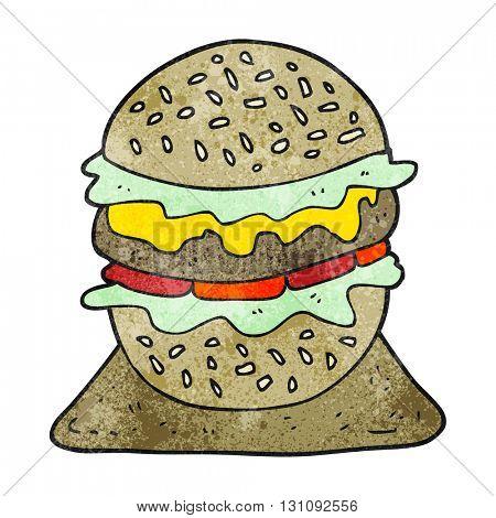 freehand textured cartoon tasty burger