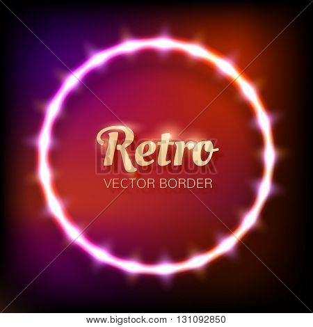 Glowing neon round frame with light bulbs on colorful dark background for your design. Vector illustration. EPS 10