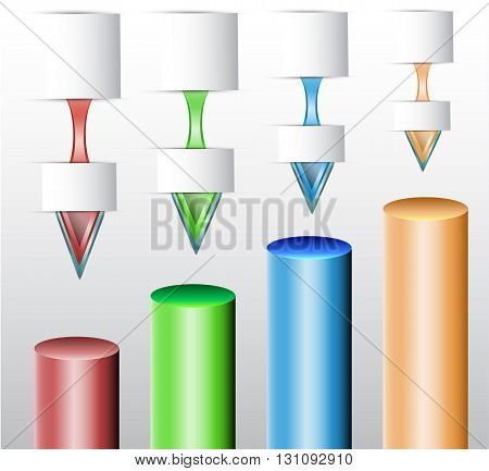Infographics template with blank notepads and cylindrical diagrams