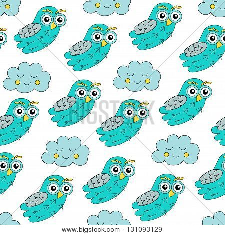 Sleep owl vector seamless pattern. vector illustration owl.
