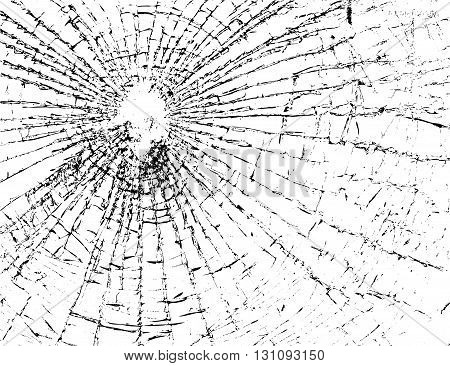Broken glass grunge texture white and black. Sketch abstract to Create Distressed Effect. Overlay Distress grain monochrome design. Stylish modern background for print products. Vector illustration.