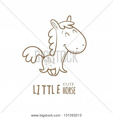 Card with cute cartoon  horse. Funny little animal. Children's illustration. Vector contour  image. Transparent background.