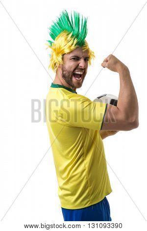 Brazilian funny fan on white background