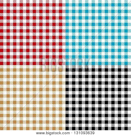 Set of checkered seamless patterns. Plaids, tablecloths. Textile collection.