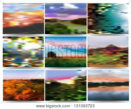 Nostalgic background of nine landscapes with trees, water and clouds