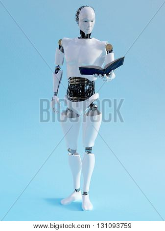 A male robot holding a book in his hand and reading. 3D rendering. Blue background.
