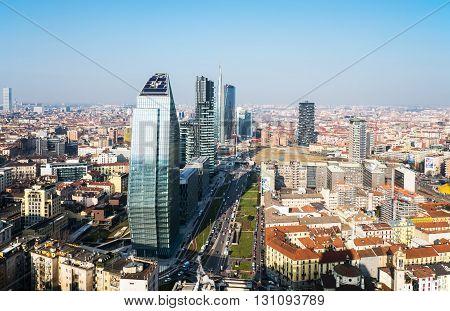 Milan Italy - February 12 2015: City scape from the Grattacielo of Della Repubblica square