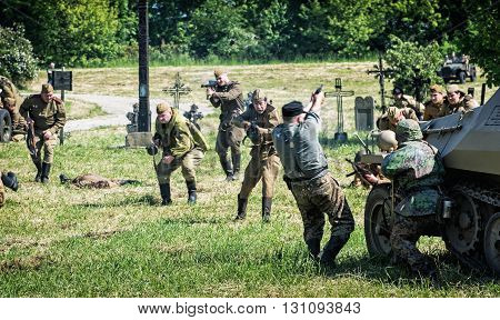 NITRA SLOVAK REPUBLIC - MAY 21: Reconstruction of the Second World War operations between Red and German army russian infantry attacks german combat units on May 21 2016 in Nitra Slovak Republic.