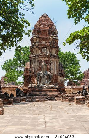 Ancient Buddha in Mahathat Temple at ayutthaya historical park thailand.