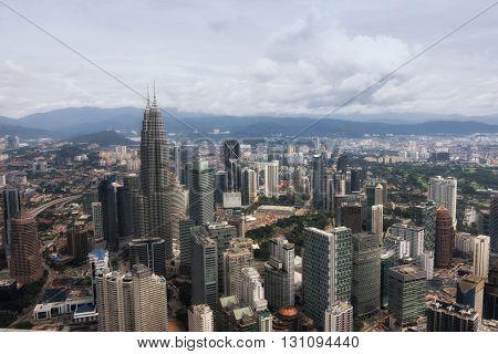 Aerial view of Kuala Lumpur. Petronas Twin Towers panorama at morning.