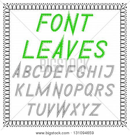 English font from vector leaves. Simple strict. Ecology - natural products - nature