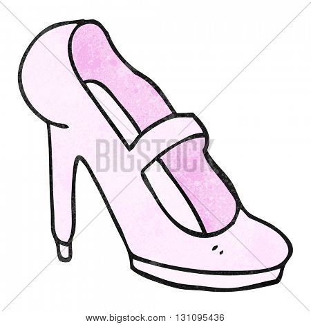 freehand textured cartoon high heeled shoe