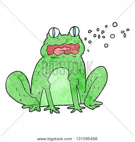 freehand textured cartoon burping frog