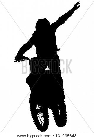 Man on sports bike on white background