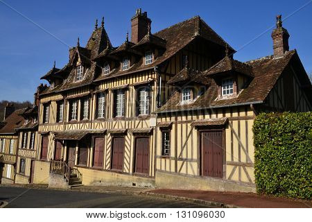 Lyons la Foret France - march 15 2016 : the picturesque village in winter