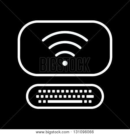Vector line art computer icon with internet sign isolated on a black background