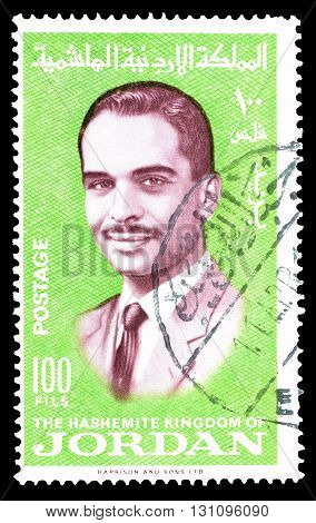 JORDAN - CIRCA 1966 : Cancelled postage stamp printed by Jordan, that shows king Hussein.