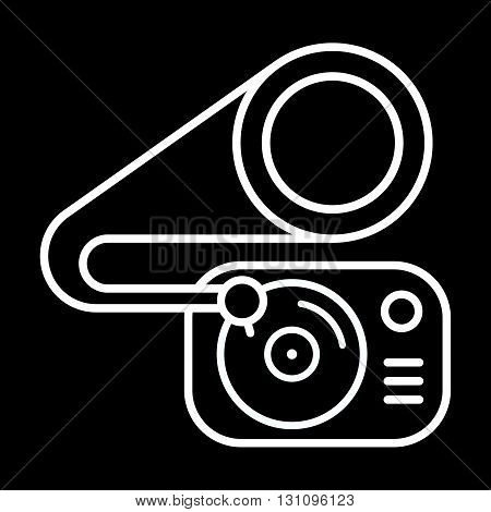 Gramophone line art vector icon isolated on a black background.