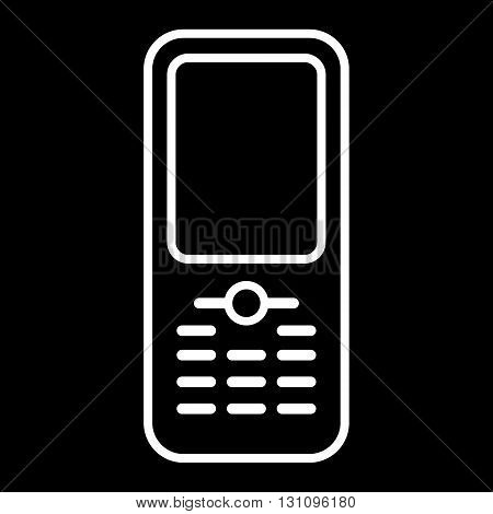 Mobile phone vector line art icon isolated on a black background.