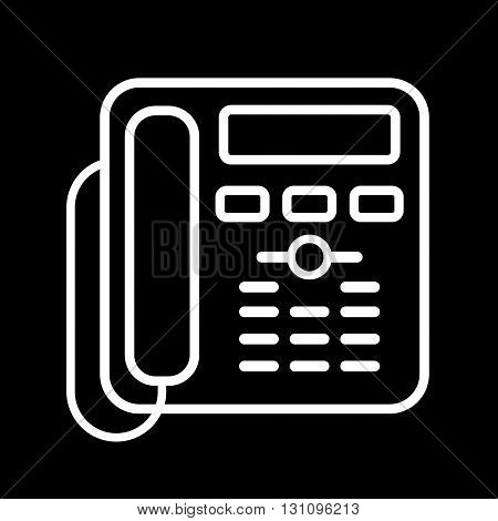 Office phone line art vector icon isolated on a black background.