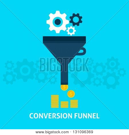 Conversion Funnel Flat Concept