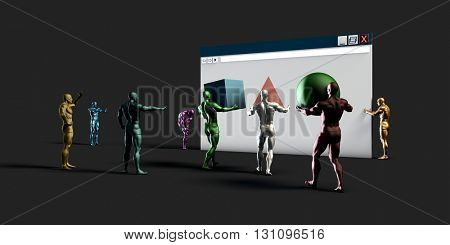 Website Builder and Graphic Design Services and Solutions 3D Illustration Render