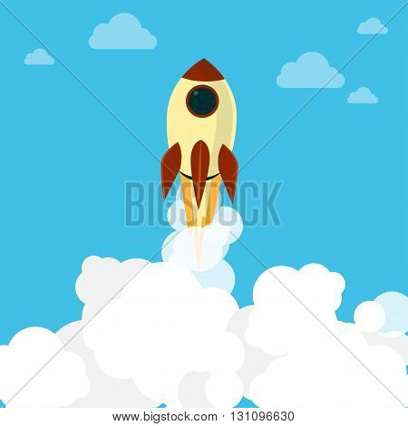 flying rocket in the sky, vector illustration.