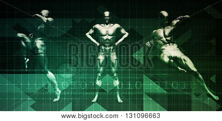 Sports Background and Physical Combat as Abstract 3D Illustration Render
