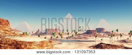 Computer generated 3D illustration with the Pyramids of Giza in Egypt