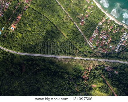 Top View of a Road in Coastal