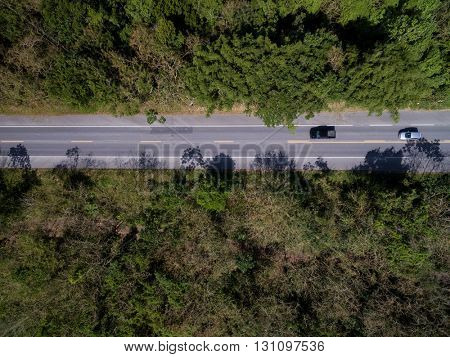 Top View of Road in a Rural Landscape