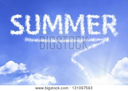 Summer cloud word with a blue sky