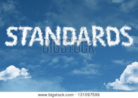 Standards cloud word with a blue sky