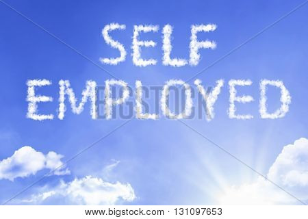 Self Employed cloud word with a blue sky