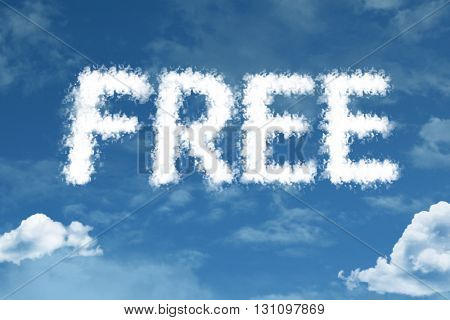 Free cloud word with a blue sky