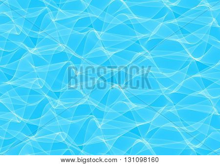 Abstract Illustration of light wavy lines on blue background. Curving light blue abstract backdrop