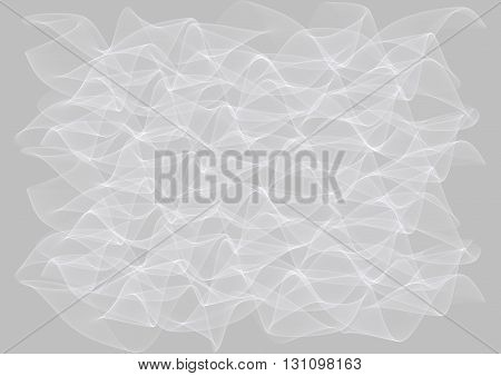 Abstract Illustration of wavy lines on grey background. Curving white and grey abstract backdrop