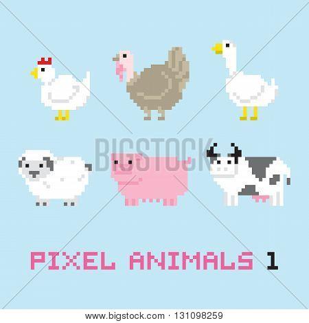 Pixel art style farm animals cartoon vector set one