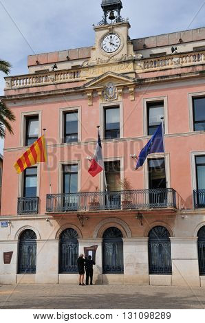 Sanary sur Mer France - april 20 2016 : the pink city hall