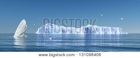 Computer generated 3D illustration with sperm whale, sea gulls and iceberg